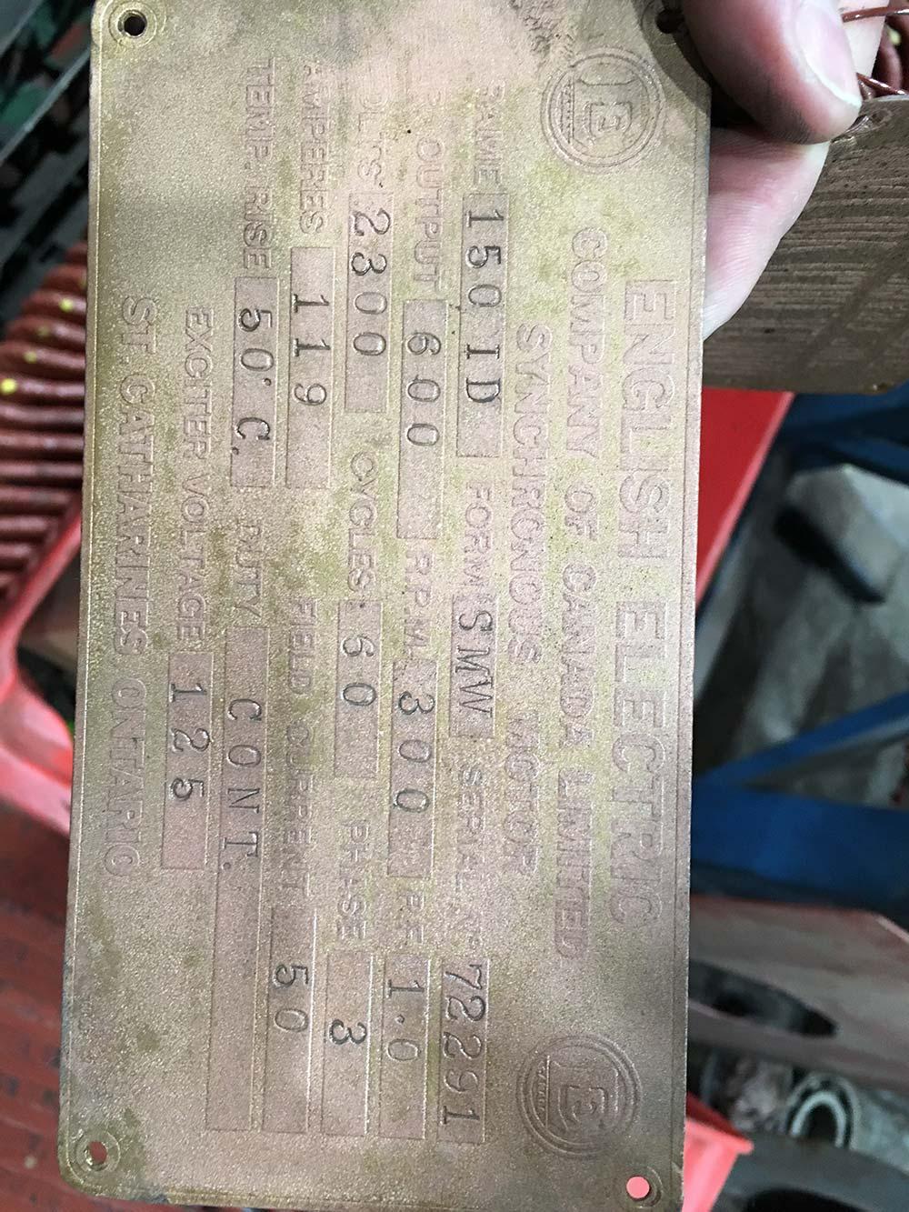 English Electric compressor motor nameplate closeup