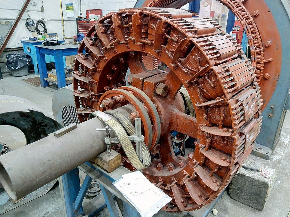 English Electric compressor motor part in Duke Electric shop for repair