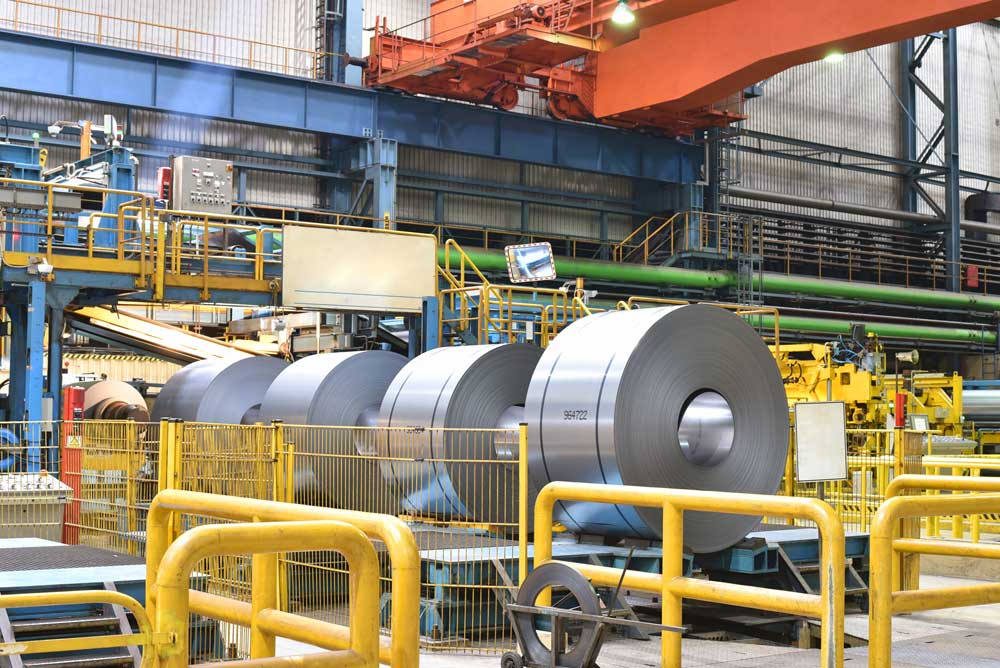 Rolls of steel in plant